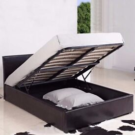 BRAND NEW 3FT SINGLE 4 FT DOUBLE 5ft Kingsize Leather Ottoman Storage Bed Orthopaedic Mattress