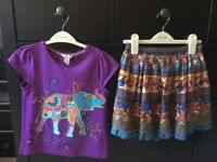 Monsoon Girls T-Shirt & Skirt Outfit - Beaded Elephant Floral - Summer/Autumn - Size Age 6