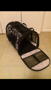 Zebra print small dog or cat soft animal carrier. Vented screen