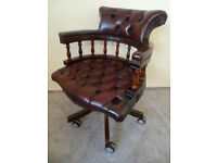 Bordeaux Leather Cheserfield Office Desk Swivel Captains Chair