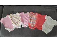 Baby girl sleep suits,vests,hats,bibs,mitts.0-3moths