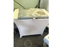 Beautiful small upholstered Lloyd loom ottoman