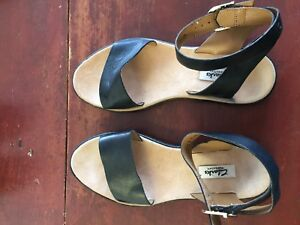 Clarks ankle sandals (size 7.5, black leather)