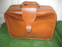 Brand New Light Brown Leather-Look Weekend Suitcase