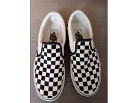 Iconic Vans Slip Ons - Black & Cream Check Pattern - Worn Only Once!
