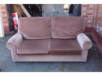 FREE - Great Quality Brown Fabric Sofas (2 Seater and large 2.5 seater) - FREE