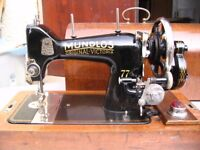 German very old vintage sewing machine Mundlos - hand operated, hand crank, in arched case c. 1930