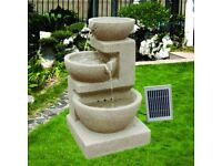 Modern Solar Water Feature with mains plug, LED light for night illumination and Lithium battery