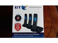 BT6600 Advanced cordless Nuisance call blocker answer machine Trio set (WAS £110)