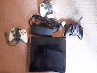 Xbox 360 Slim 250gb console with games and controllers