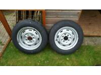 Classic mini 12 inch steel wheels, tyres and hubs and bearings for trailer