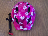Kids bike safety helmet pink with white daisies size 46-53cm
