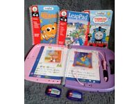 Leap Frog (Fully Working) - Leap Pad + 4 Books and 2 Cartridges (Ideal for Summer Car Travel).