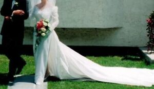 Mon Cheri Wedding Dress~Removable Train~Embellished with Pearls
