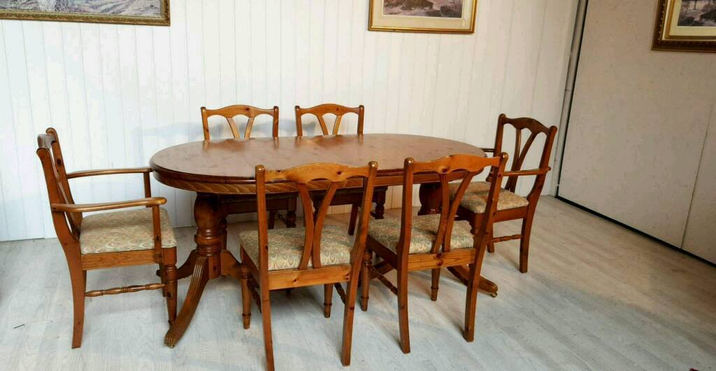 Solid Pine Ducal Victoria Extendable Dining Table And 6 Chairs For Sale