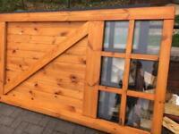 2 x WOODEN HANGING DOUBLE GLAZED DOORS EXCELLENT CONDITION BLACK
