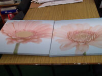 Pair of light blue canvas prints with pink flower design