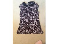 Flower pattern top with black collar Dorothy Perkins size 10