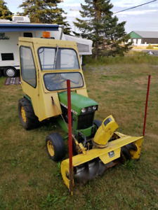 "1979 John Deere 140 with a bunch of attachments & real""Cozy Cab"""