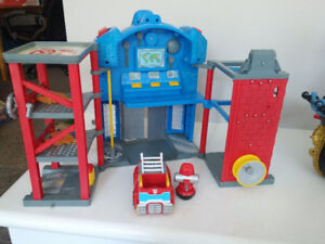Tranformer fire station, pirate ship (sold) and wooden train set
