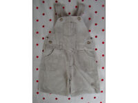 DUNGAREE SHORTS: Mothercare cute neutral coloured. Age 18-24 mths/upto 92 cms. Great for summer!