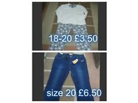 BNWT jeans size 20 £6.50 pjs 18-20 £3.50 collection from didcot smoke and pet free home