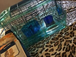 Hamster cage and accessories.