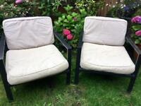 2 x outdoor chairs with pads