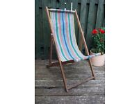Vintage Retro Traditional Folding Deck Chair Canvas Striped Garden Beach