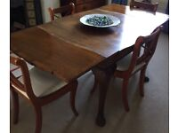 ANTIQUE DINING TABLE (SQUARE WITH PULL OUT LEAVES)