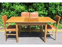 Vintage Gordon Russell Walnut Extending Table and chairs. Delivery. Mid Century/Modern.