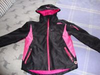 "Girls ""No Fear"" waterproof jacket in black and fushia pink"