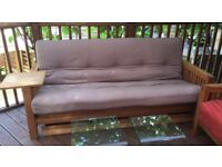 Stunning 3 seater Oak frame Futon Company sofa bed, original mattress, spacious drawer + side table!