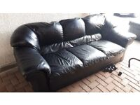 Black Leather sofa and armchair 3 seater and 1 seater good condition suite