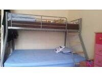 Metal Grey Double Bunk Bed Frame in Excellent Condition Like Brand New , One Double , One Single