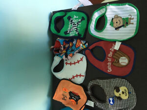 Miscellaneous Baby Boy Burping cloths, Bibs, teething, scarfs