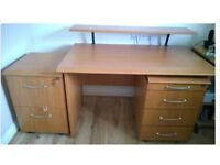 Desk with optional shelf, and 2 matching pedestal drawers