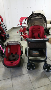 Maxi Cosi stroller + car seat. 2nd base & click it carrier avail