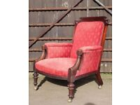 A Large Early Victorian Carved Mahogany Fireside Arm Chair Great Shape UK Delivery Available