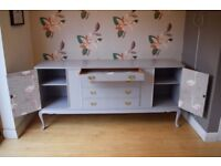 Large Retro Sideboard handpainted in light grey paint with brass handles