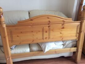 Solid pine double bed frame in good condition