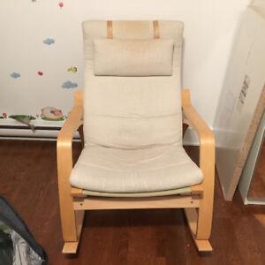 Chaise berçante poäng IKEA bois couleur miel