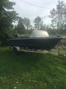Leavens 16 ft fibreglass boat with 50 hp mercy and trailer