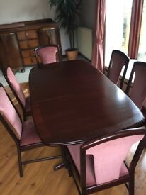 G-plan dining room table and six chairs