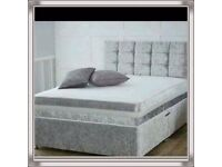 Brand New 4FT6 Double Crushed Velvet Bed Set ( Base + Mattress+ Headboard) Fast Delivery....