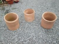 3 x large clay pots/ flue liners