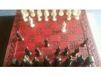 Chess Board and Camelot Pieces by Carlton