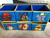 Paw patrol end of bed storage/storage cabinet with storage cubes in fabric