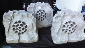 THREE OUTDOOR ALL WEATHER ROCK SPEAKERS