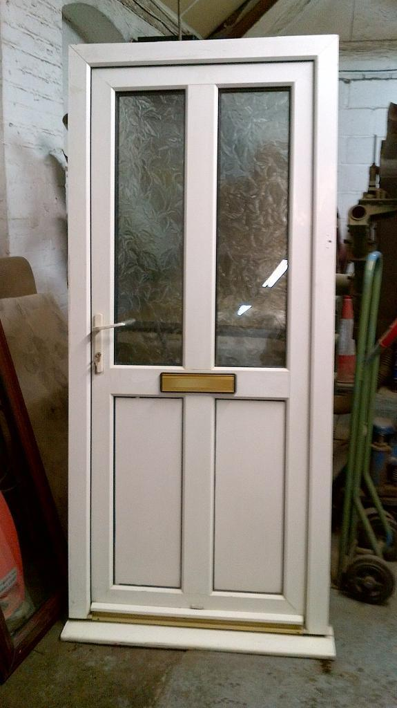 upvc door with frame 36wide x79high half glass in good condition call 07515477305 - Door With Frame